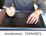 business women hand working... | Shutterstock . vector #745943872