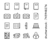 books line icon set. included... | Shutterstock .eps vector #745948276