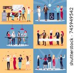people having fun together in... | Shutterstock .eps vector #745949542