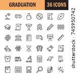graduation icon set. collection ... | Shutterstock .eps vector #745950742