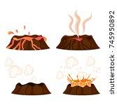 volcanic eruption stages vector ... | Shutterstock .eps vector #745950892
