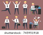 active businessman at work... | Shutterstock .eps vector #745951918