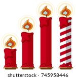 Red Candles With Fire On White...
