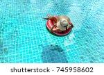woman bikini swimming pool on... | Shutterstock . vector #745958602