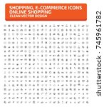 shopping and commerce icon set... | Shutterstock .eps vector #745961782