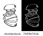 hand drawn burger. burger... | Shutterstock .eps vector #745967416