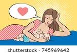 beautiful mother breastfeeding... | Shutterstock .eps vector #745969642