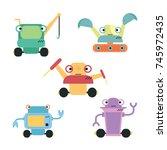 cute robot set vector | Shutterstock .eps vector #745972435