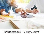 creative or interior designers...   Shutterstock . vector #745973095