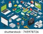 big set of isometric volumetric ... | Shutterstock . vector #745978726