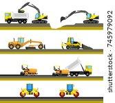 set of seamless horizontal road ... | Shutterstock . vector #745979092