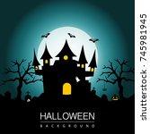 halloween background with... | Shutterstock .eps vector #745981945