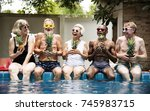 group of diverse senior adults... | Shutterstock . vector #745983715