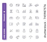 line icons set. finance pack 1.... | Shutterstock .eps vector #745987576