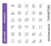 line icons set. university...