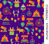 cartoon circus background... | Shutterstock .eps vector #745988512