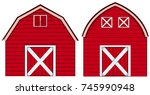 two designs of barn in red... | Shutterstock .eps vector #745990948