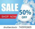winter sale vector banner... | Shutterstock .eps vector #745992805