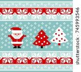 vector pattern for knitting or... | Shutterstock .eps vector #745993546