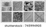 set of hand drawn textures. for ... | Shutterstock .eps vector #745994905