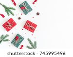 christmas composition. frame... | Shutterstock . vector #745995496