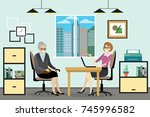 cartoon caucasian business... | Shutterstock .eps vector #745996582