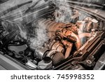 overheated muscle car engine | Shutterstock . vector #745998352