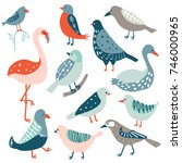 colorful doodle bird set.... | Shutterstock .eps vector #746000965