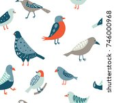 colorful doodle bird seamless... | Shutterstock .eps vector #746000968