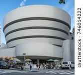 Small photo of NEW YORK, USA - OCT 6, 2017: Solomon R. Guggenheim Museum is the permanent home of a continuously expanding collection of Impressionist, Post-Impressionist, early Modern and contemporary art