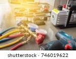 manometers measuring equipment... | Shutterstock . vector #746019622