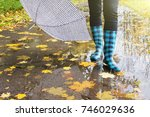 Rubber Boots With Umbrella In...