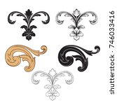 classical baroque vector set of ... | Shutterstock .eps vector #746033416