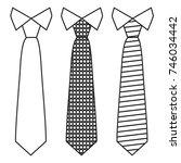 neck ties set with trendy line... | Shutterstock .eps vector #746034442