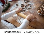 funny child girl preparing... | Shutterstock . vector #746040778