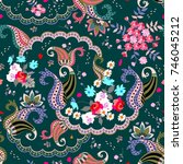 seamless floral paisley pattern ... | Shutterstock .eps vector #746045212
