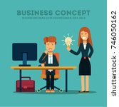 business concept. the employee... | Shutterstock .eps vector #746050162