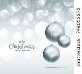 elegant hanging christmas balls ... | Shutterstock .eps vector #746053372