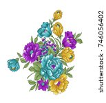 floral bunch on white background   Shutterstock . vector #746056402
