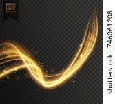 swirl style golden transparent... | Shutterstock .eps vector #746061208