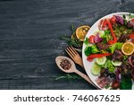 salad with bacon and chicken... | Shutterstock . vector #746067625