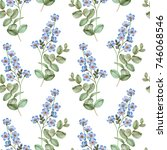 watercolor seamless floral... | Shutterstock . vector #746068546