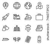 thin line icon set   dollar pin ... | Shutterstock .eps vector #746073922