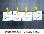 different emotions drawn on... | Shutterstock . vector #746074252
