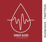 donate blood design on red... | Shutterstock .eps vector #746075326