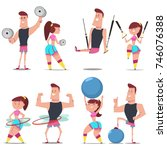 fitness couple man and woman... | Shutterstock .eps vector #746076388