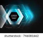 digital techno abstract... | Shutterstock .eps vector #746081662