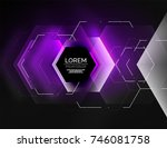digital techno abstract... | Shutterstock .eps vector #746081758