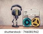 retro reel to reel tape... | Shutterstock . vector #746081962
