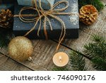 festive gifts with boxes ... | Shutterstock . vector #746090176